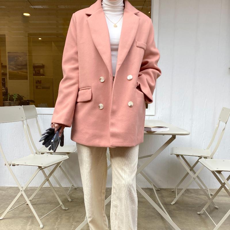 混羊毛假口袋西裝外套