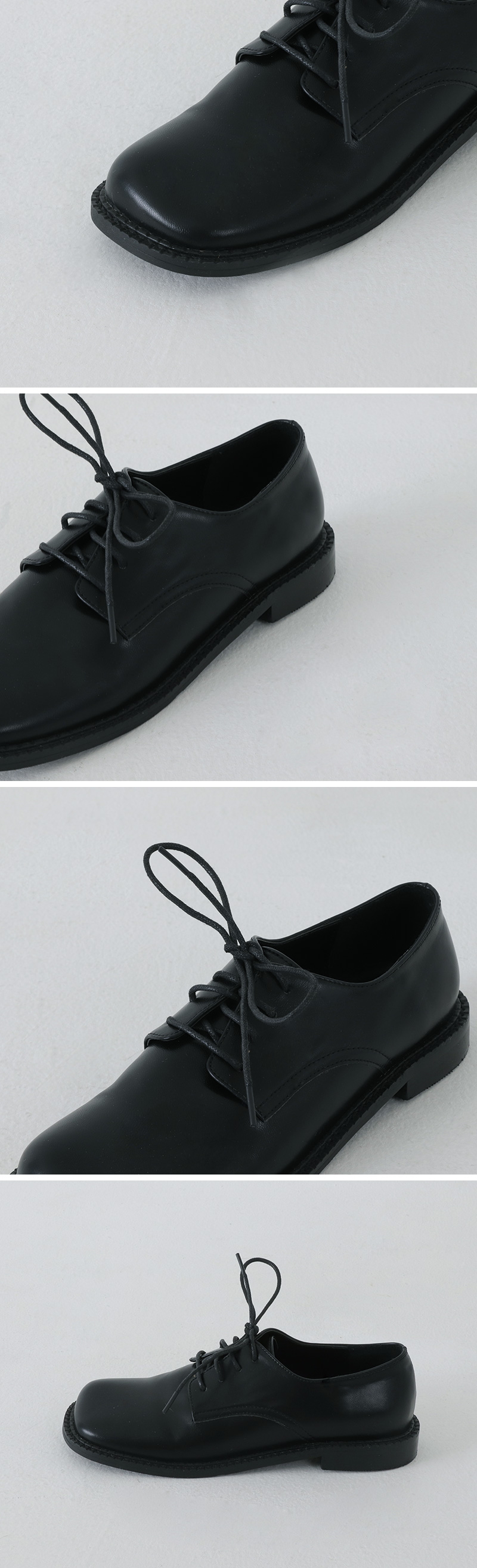 Solid Black Square Derby Loafers
