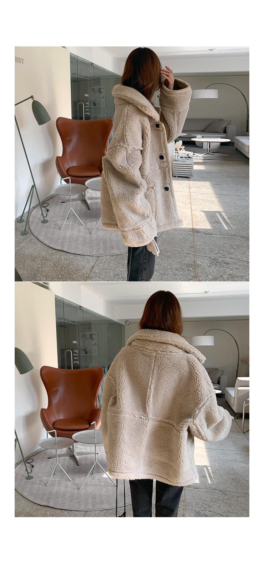 雙面式皮革泰迪毛夾克外套