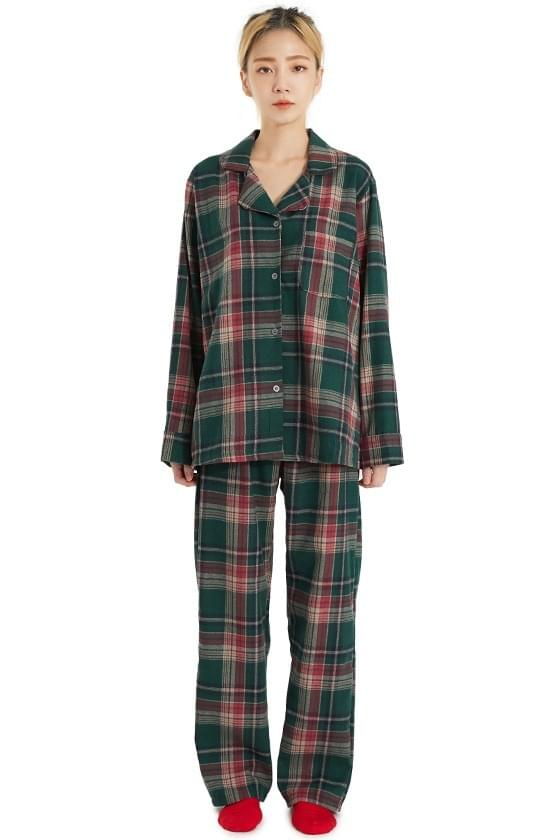 Mary Green Check Pajama Two Piece セット