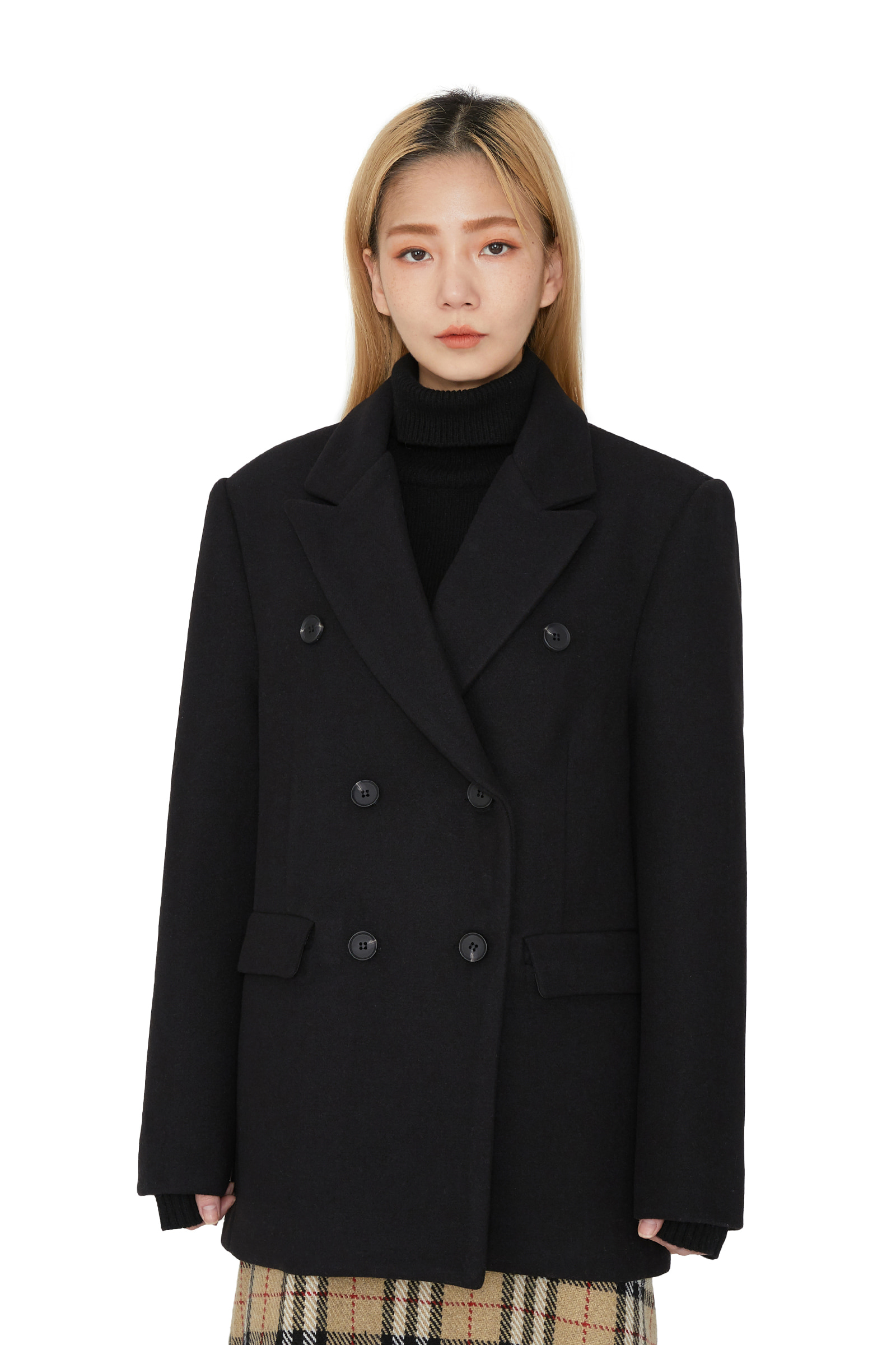 Scrap double wool half coat