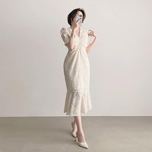 Snowflake V-neck chest shirring mermaid year-end look long dress 2color