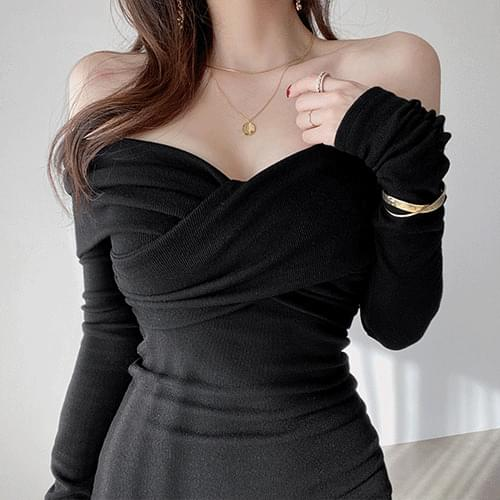 Thin off-shoulder wrap twisted year-end look dress 3color