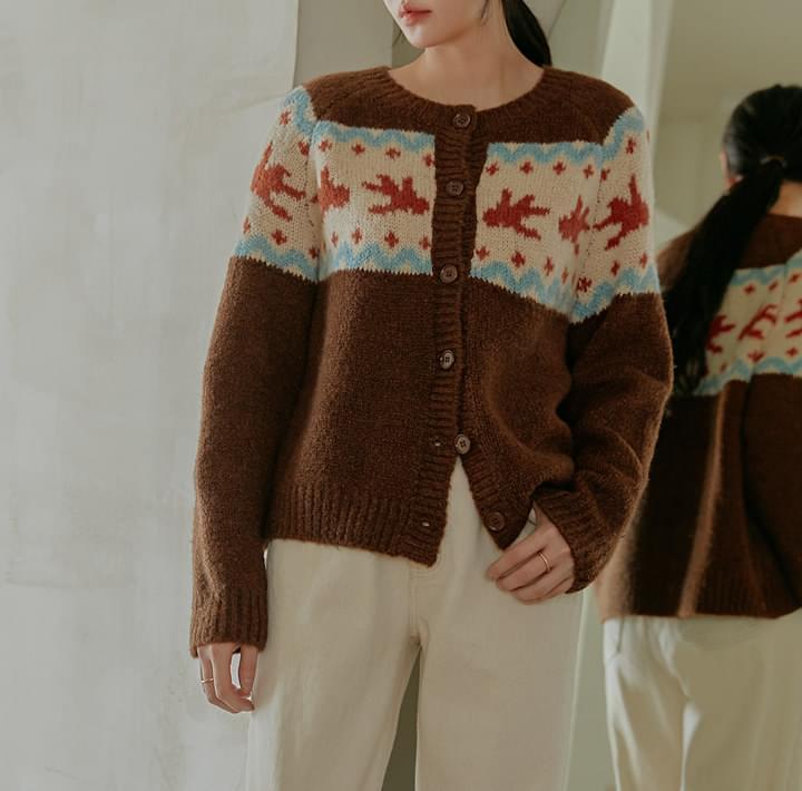 图案羊毛混纺弹力针织开衫