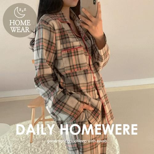 韓國空運 - 線條滾邊格紋睡衣褲組 套裝