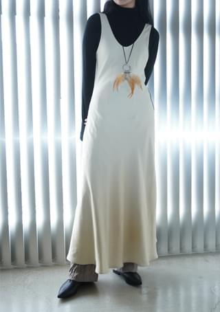 韓國空運 - rayon sleeveless layered ops 及膝洋裝