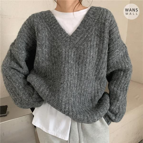 kn3196 lining v-neck sweater (Delayed delivery)