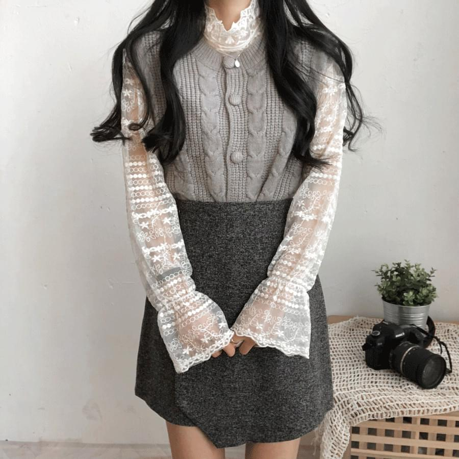 韓國空運 - Alp Knit Lace Blouse SET 套裝