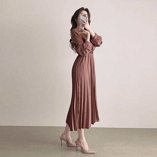 Suede belt pleats long dress 2color