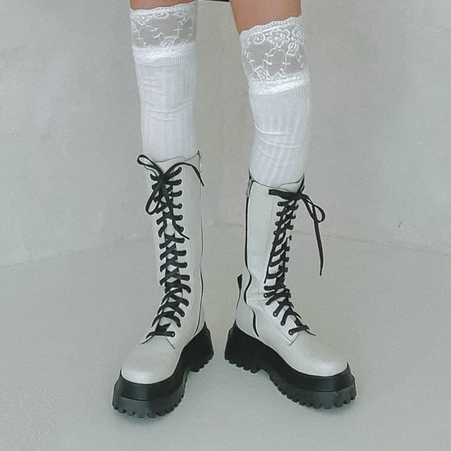 Lace-up middle long boots (Delayed delivery)