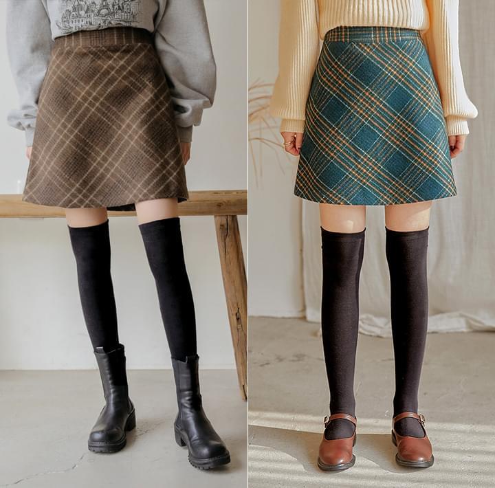 羊毛混紡格紋A字短裙