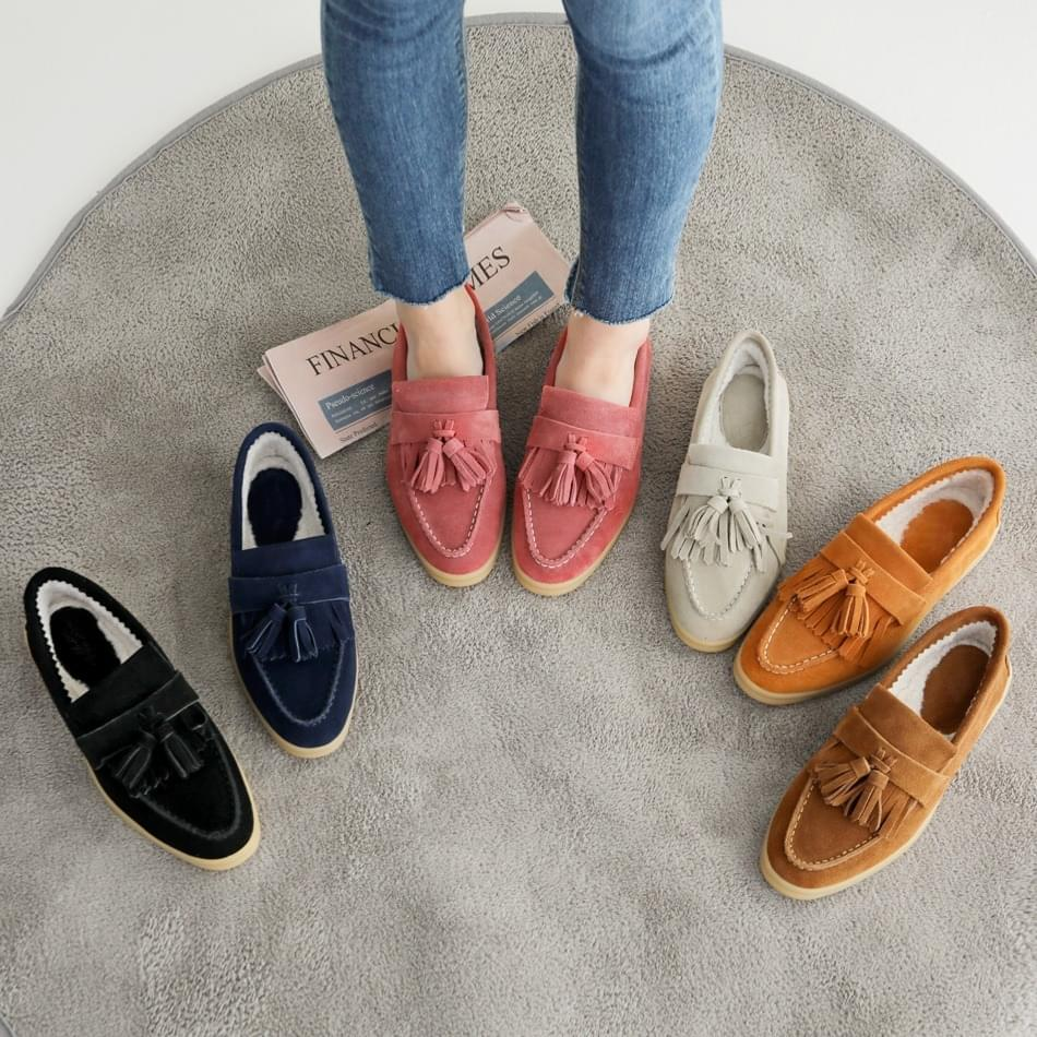 Temitsu leather fur loafers 2cm