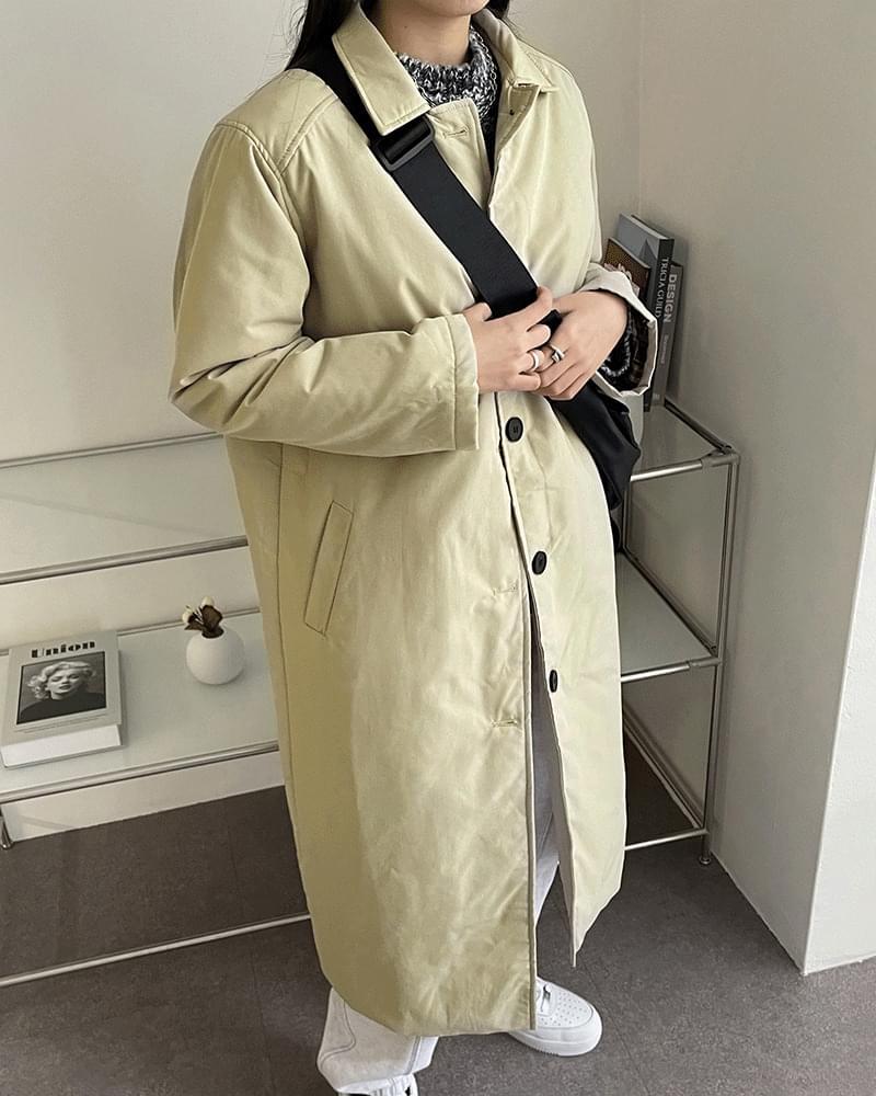 Monaca checked sleeve long padded coat