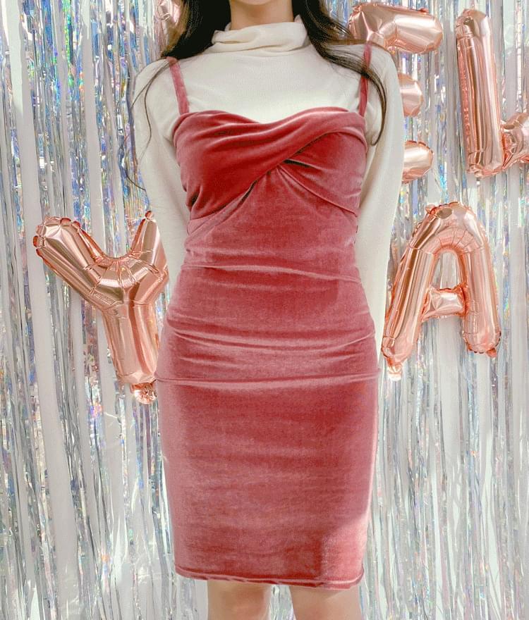 Twist Bust Accent Velvety Dress