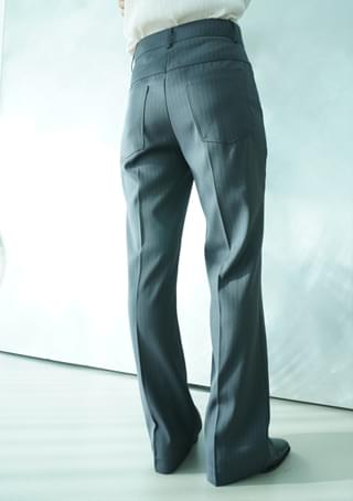 semi boots-cut stripe slacks (2colors)
