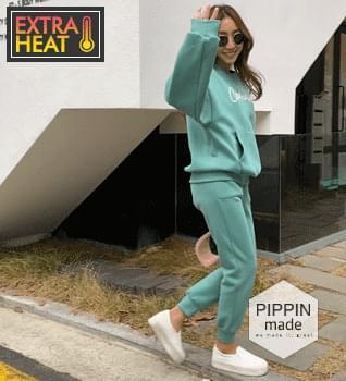 Special double - sided Fleece-lined lettering Sweatshirt& jogger pants set #92593