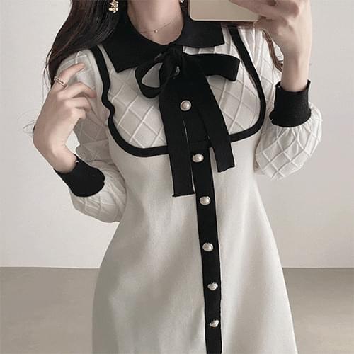 Fine knit color matching color dress 2color