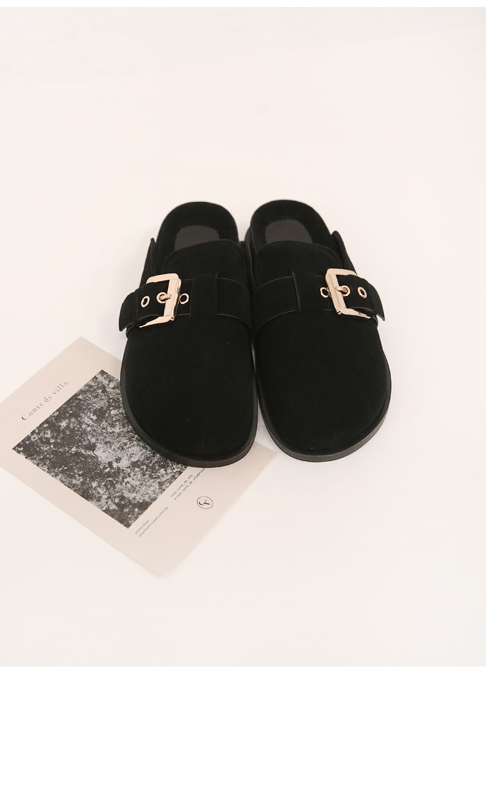 Buckle Accent Faux Suede Mule Loafers