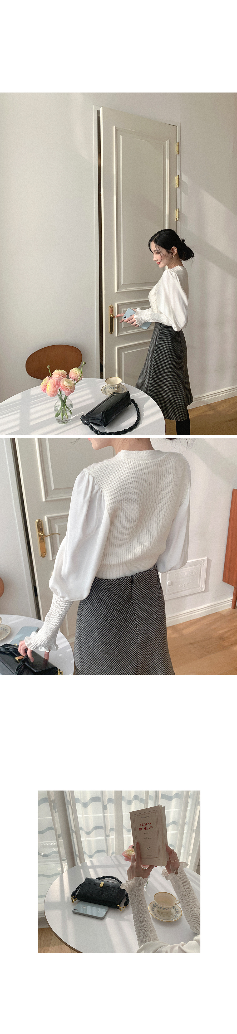 Different Knit Color Chiffon Blouse