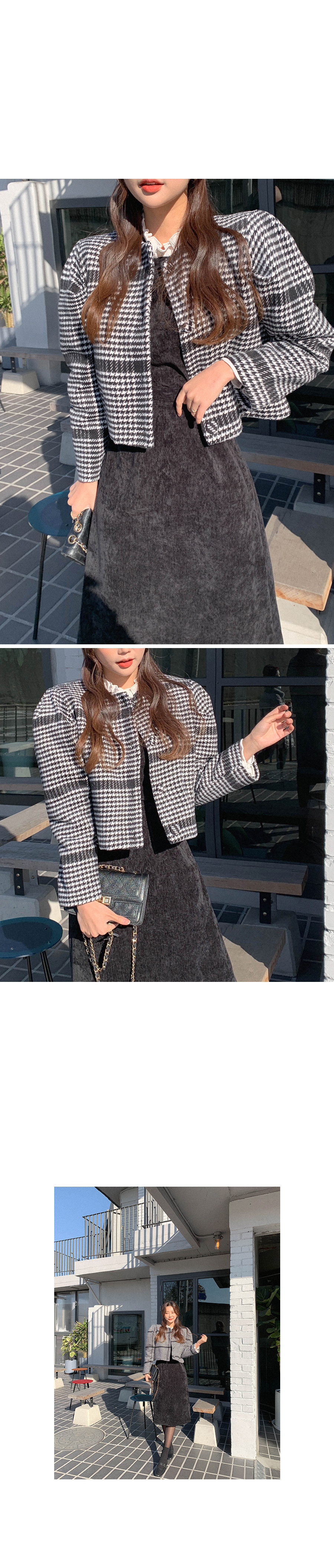 Merry Year End Hound Check Wool Jacket