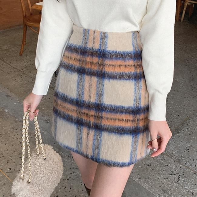 Check puff mini H-line skirt