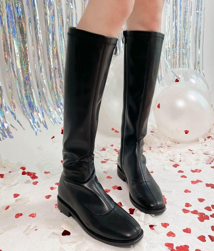 Faux Leather Long Boots