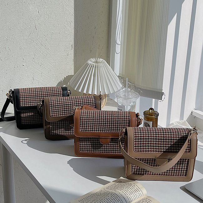 Weaving flap check leather bag
