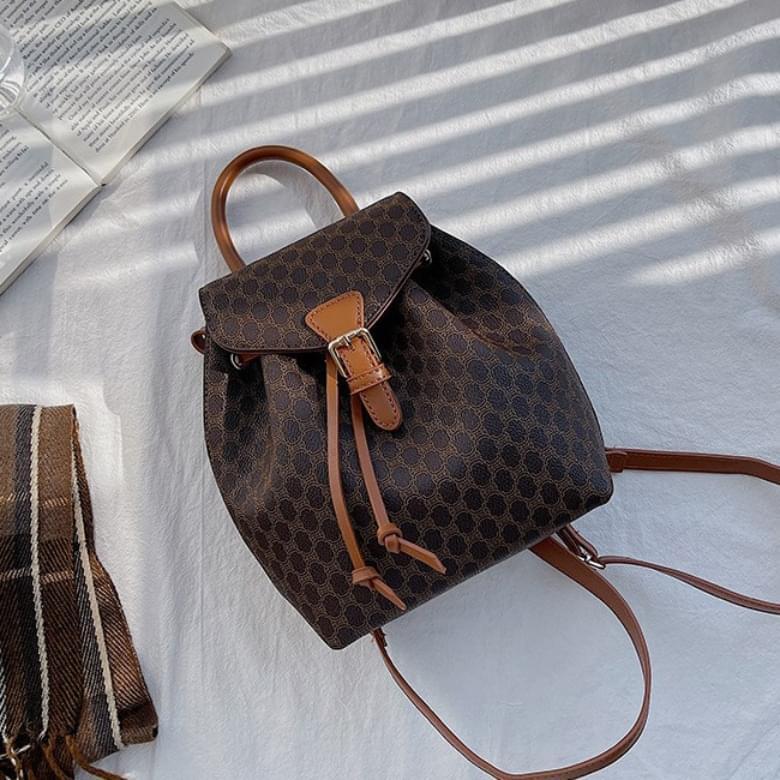 韓國空運 - Classic Pattern Vintage Leather Backpack 後背包