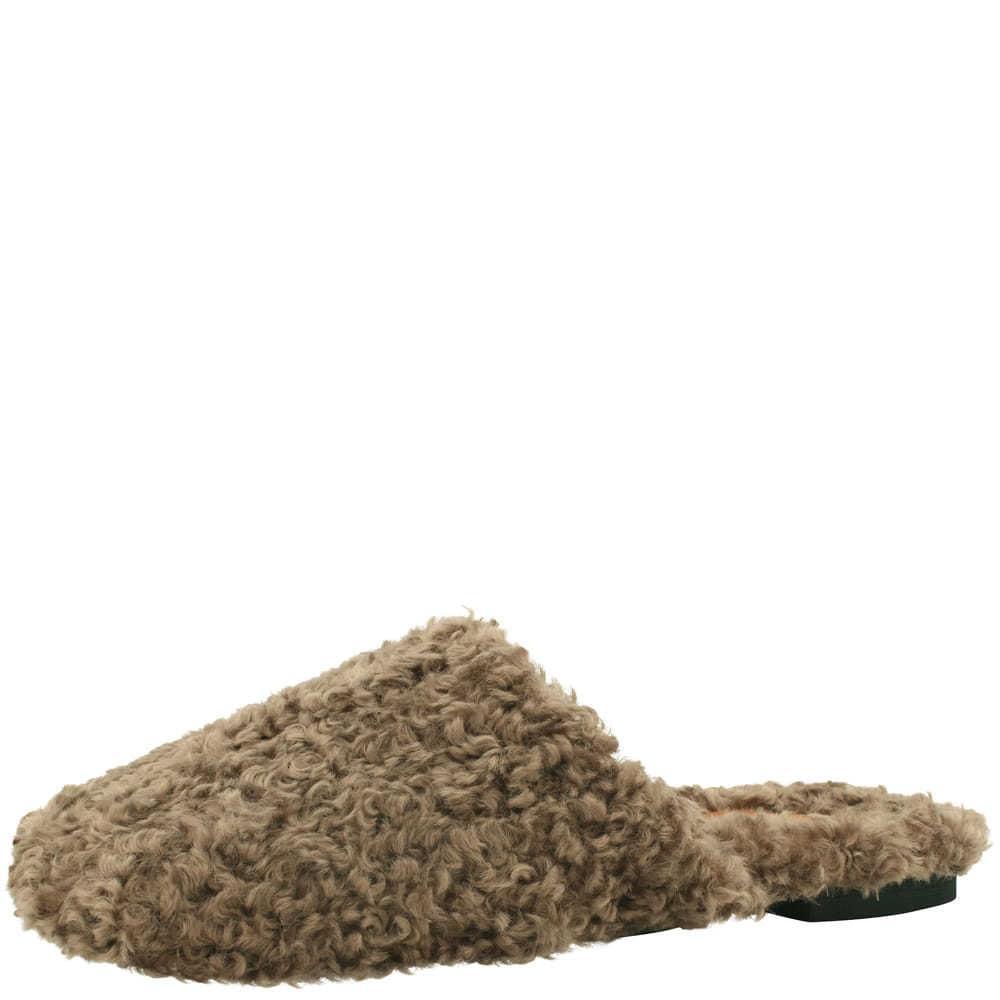 Puffy blower slippers khaki