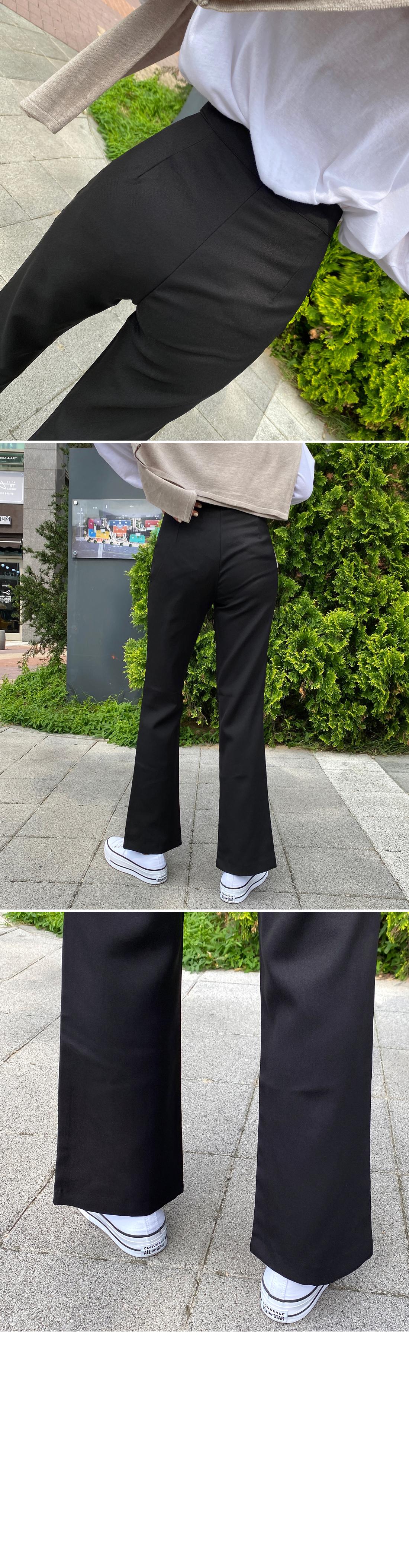 Knock Fleece-lined split semi Flared slacks