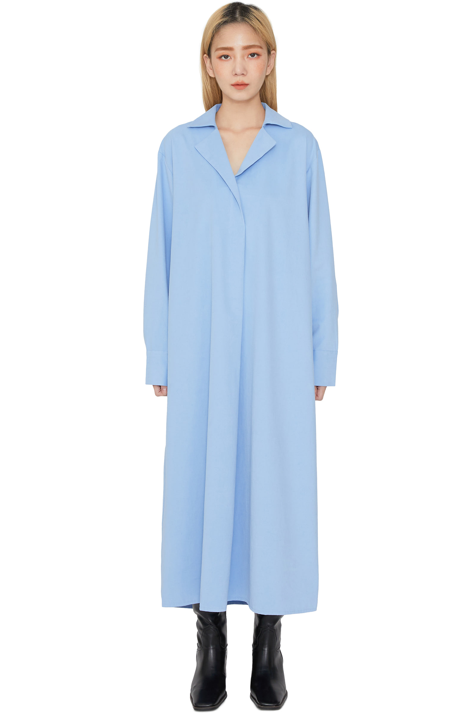 Coming open collar midi dress