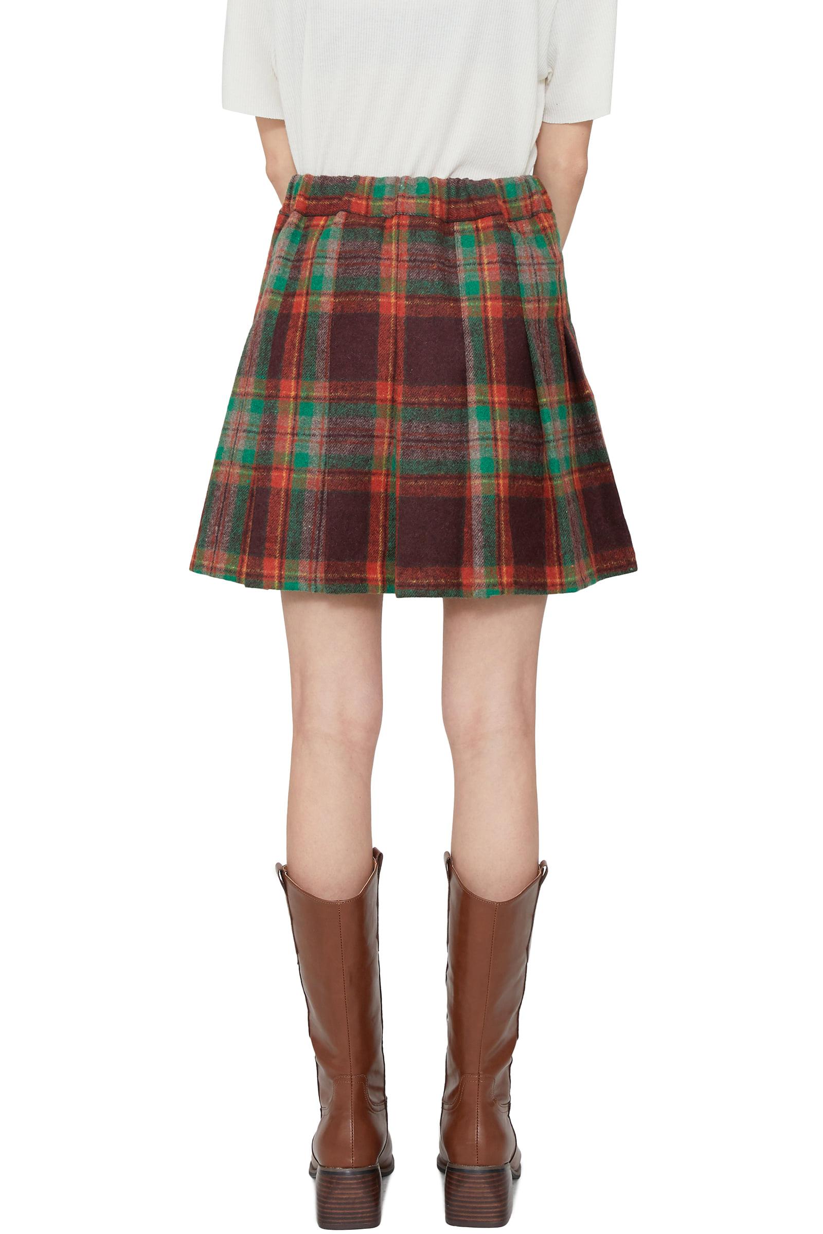 Teen Check Pleated Mini Skirt