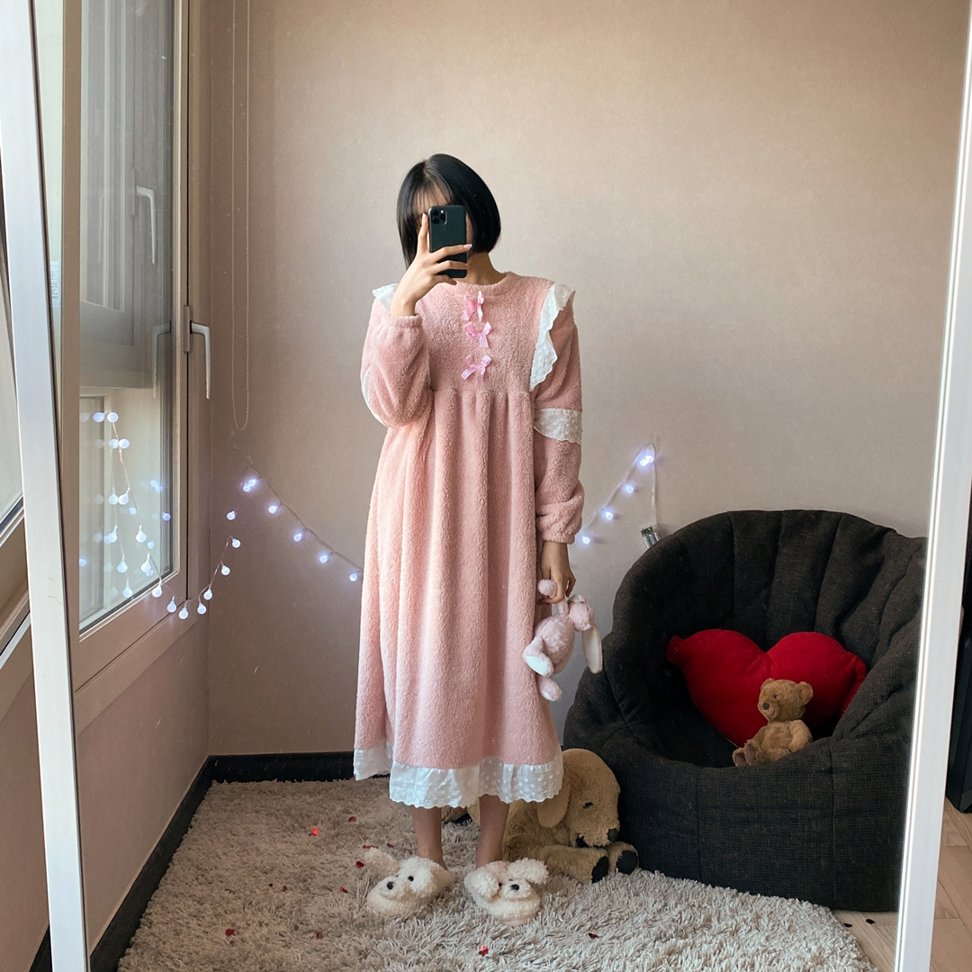 Bow and Lace Accent Pajama Dress