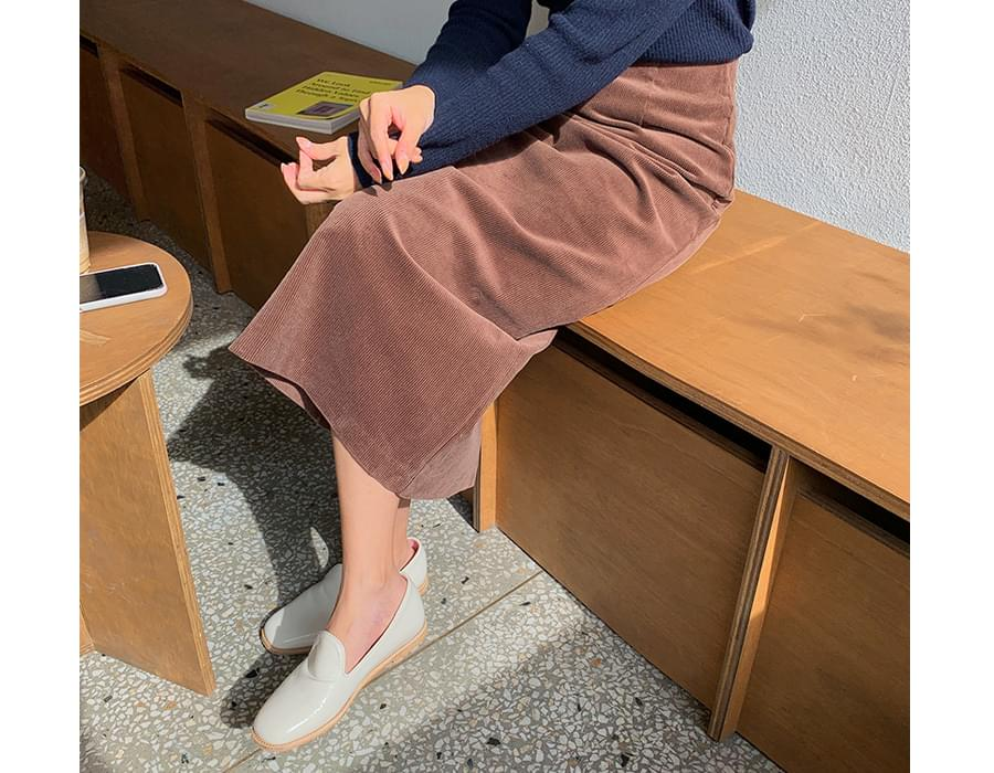 Normal Corduroy Long Skirt