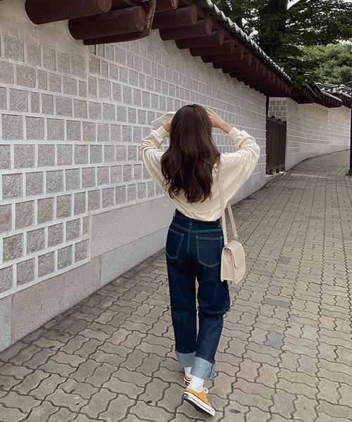 88 long wide denim trousers