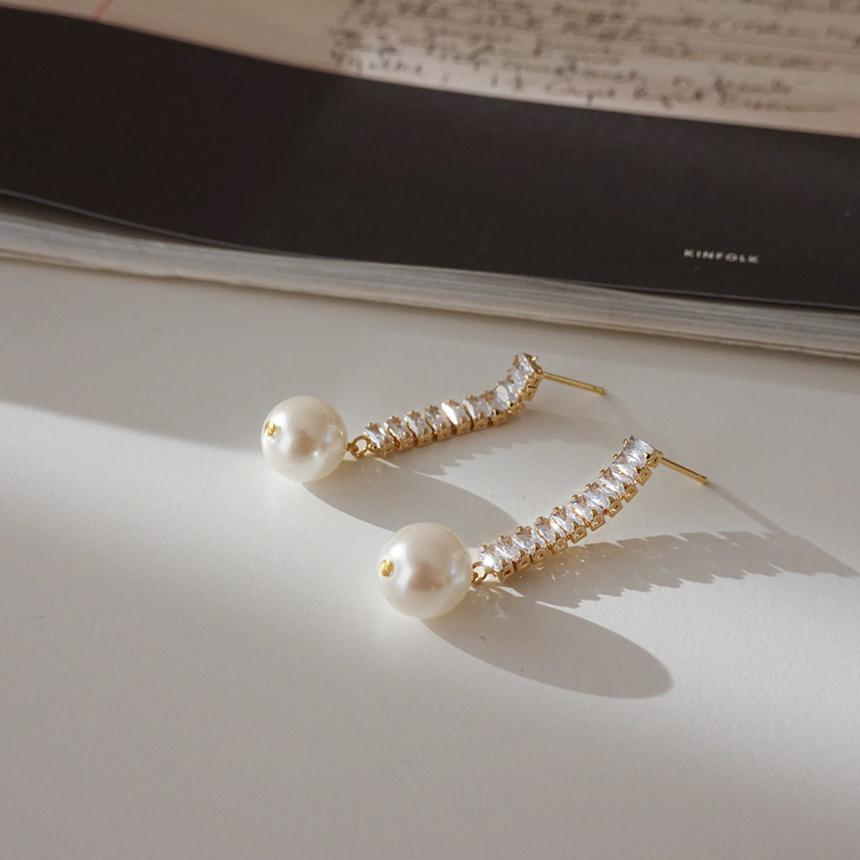 Drop pearl nickel-free needle earrings