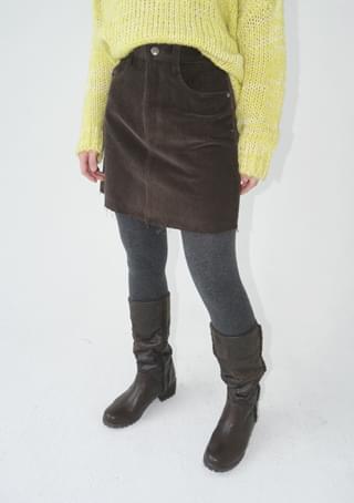 corduroy cut-off mini skirt