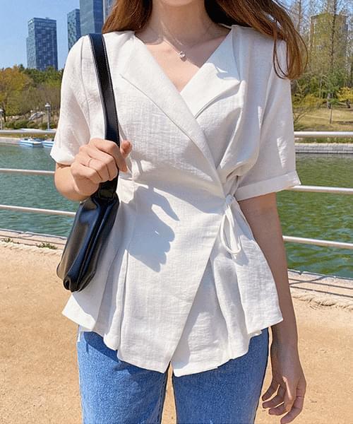Half sleeve wrap blouse