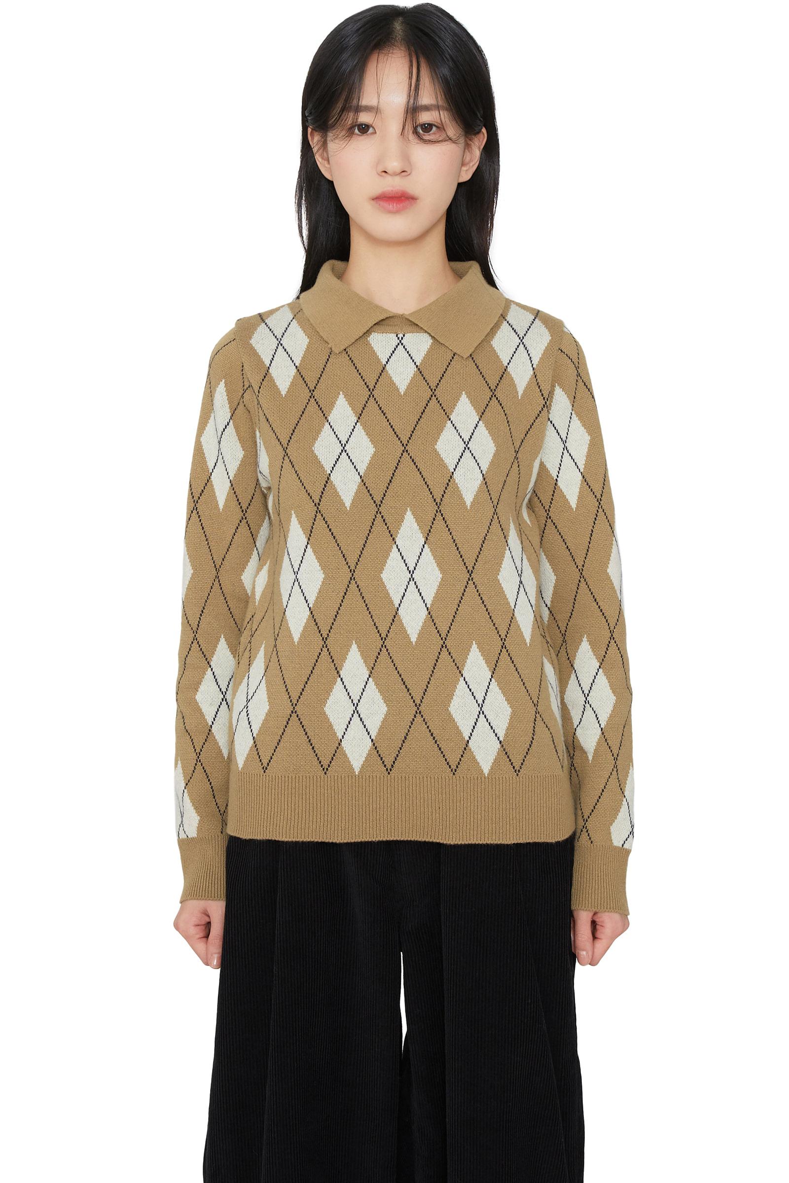Cashmere argyle collar knit top