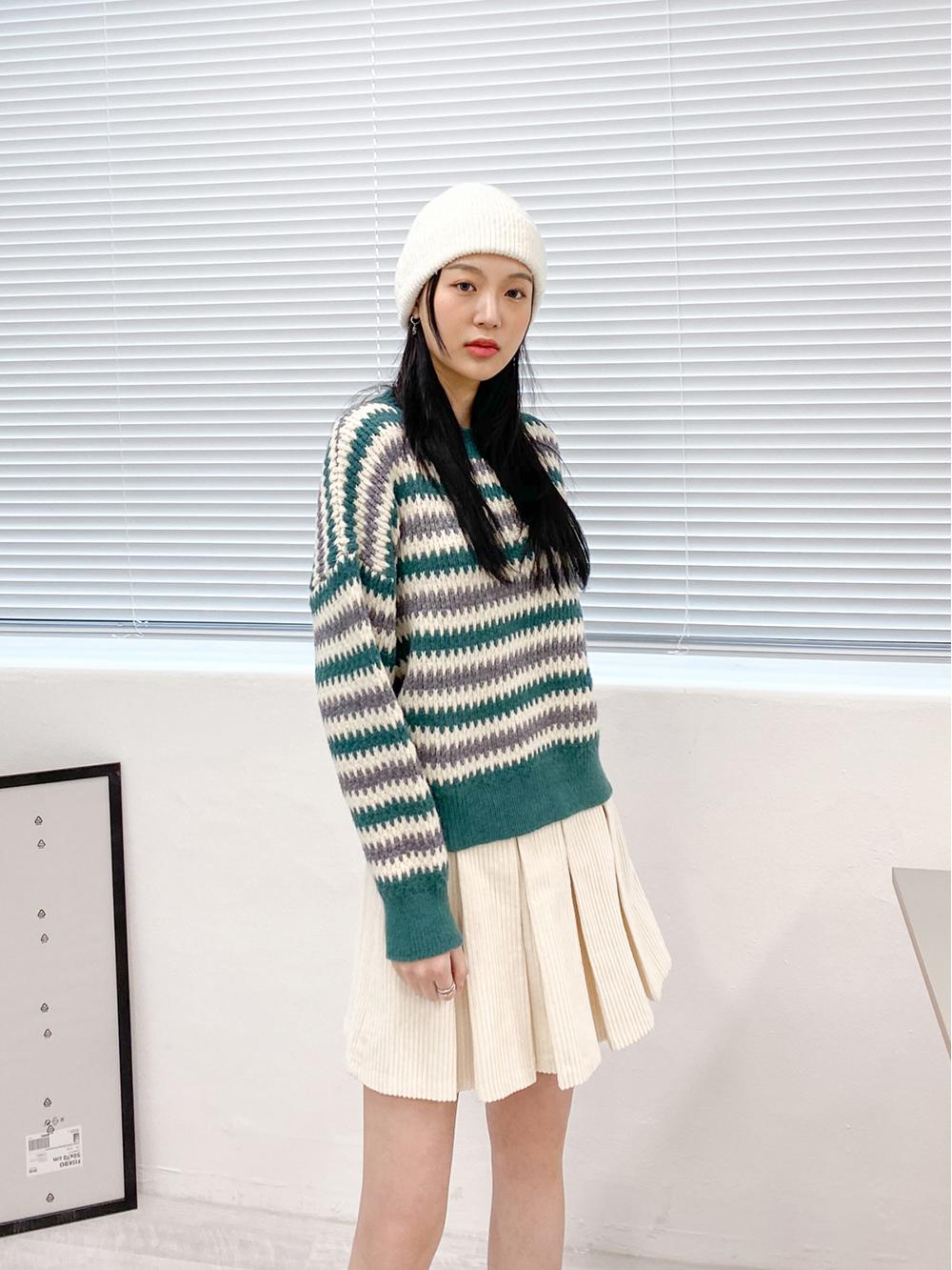 Burning Round Striped Knitwear