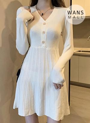 op3470 Short Girl Flare Knit Dress