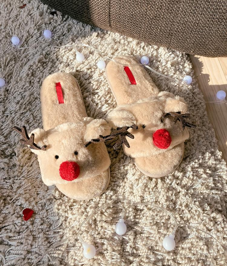 Fuzzy Reindeer-Themed Slippers