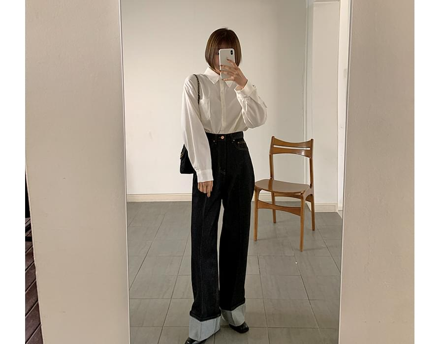 Indigo Blue Wide Roll-up Denim Pants 牛仔褲