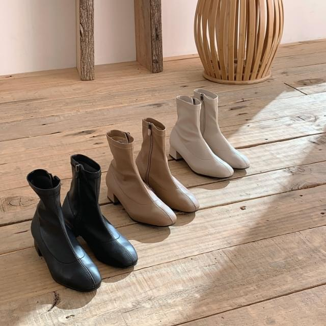 Square Nose Leather Span Ankle Boots 4cm