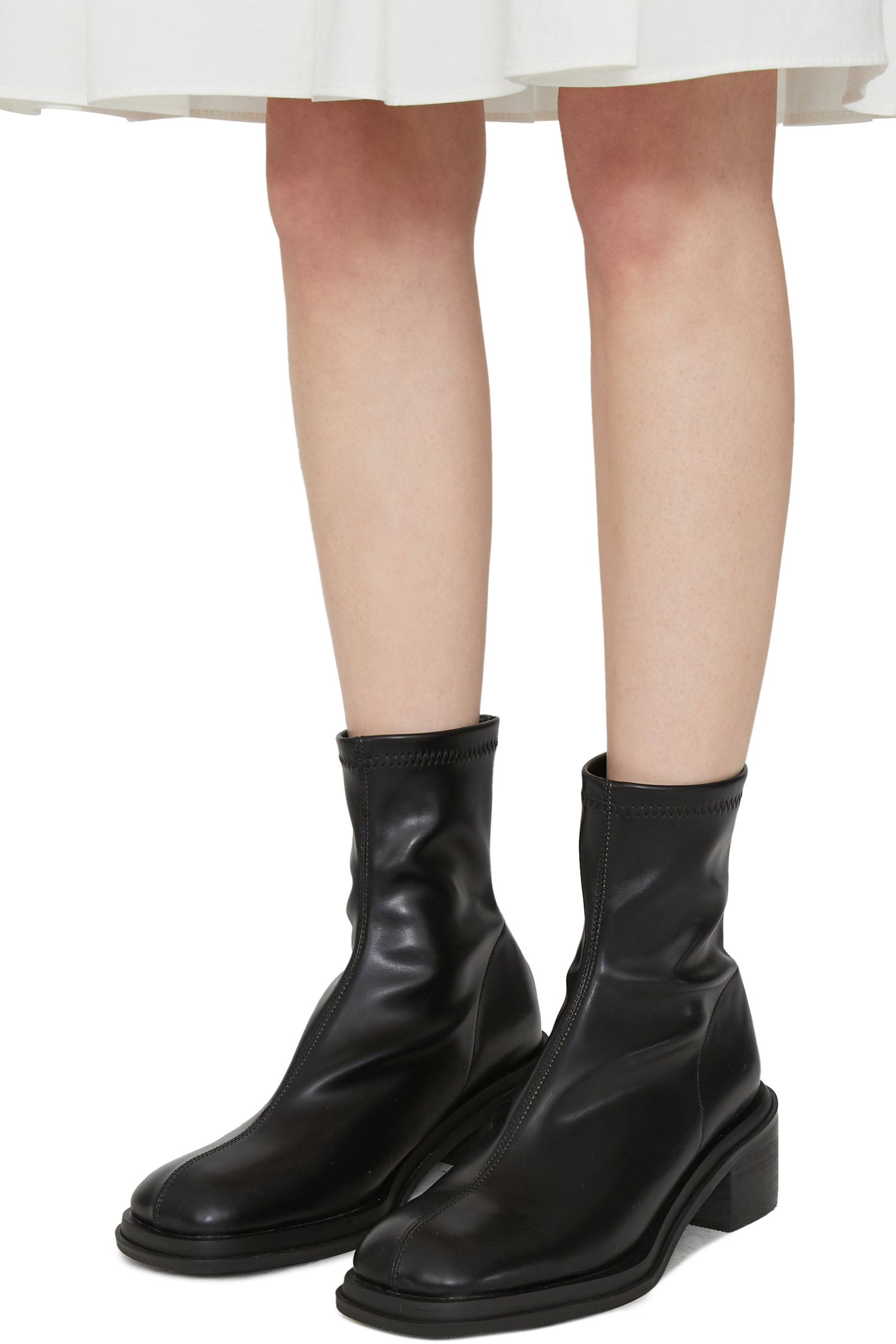 Center Fleece-lined middle heel ankle boots