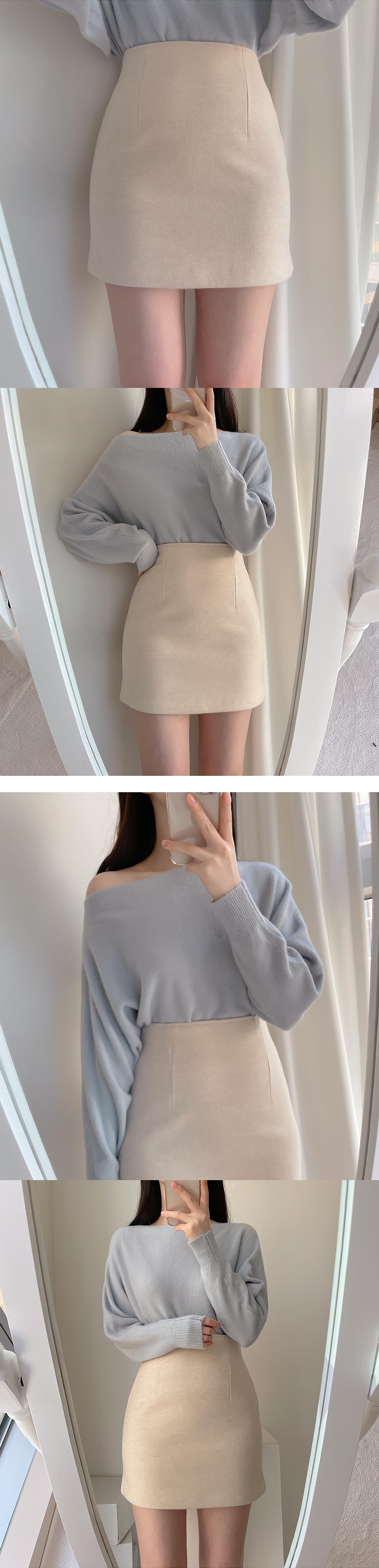 Soft Pastel Wool Mini Skirt 4color