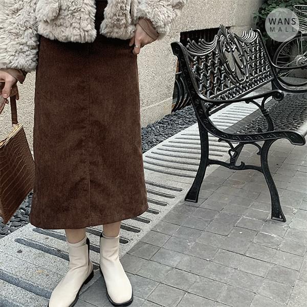 sk3474 Zenya corduroy split long skirt