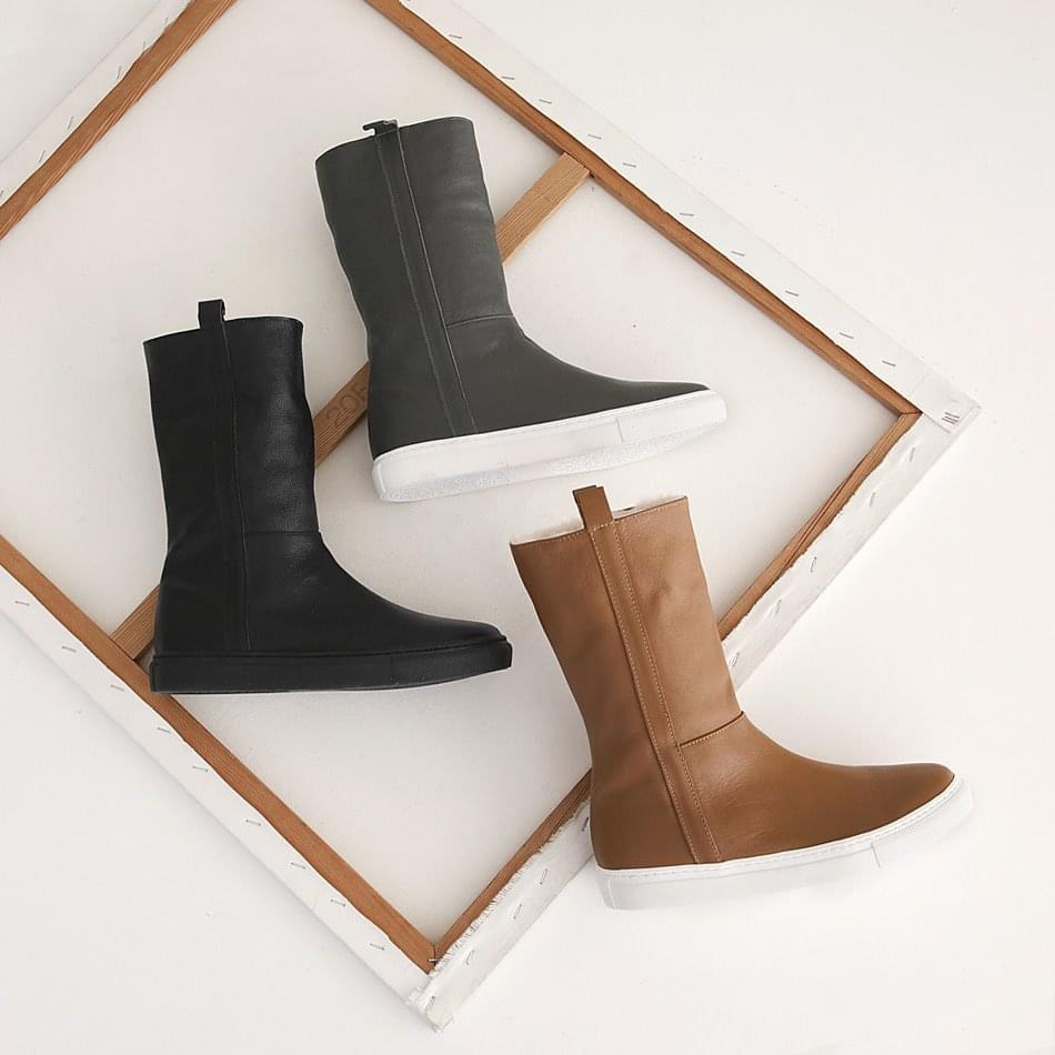Utiz leather height middle boots 5cm