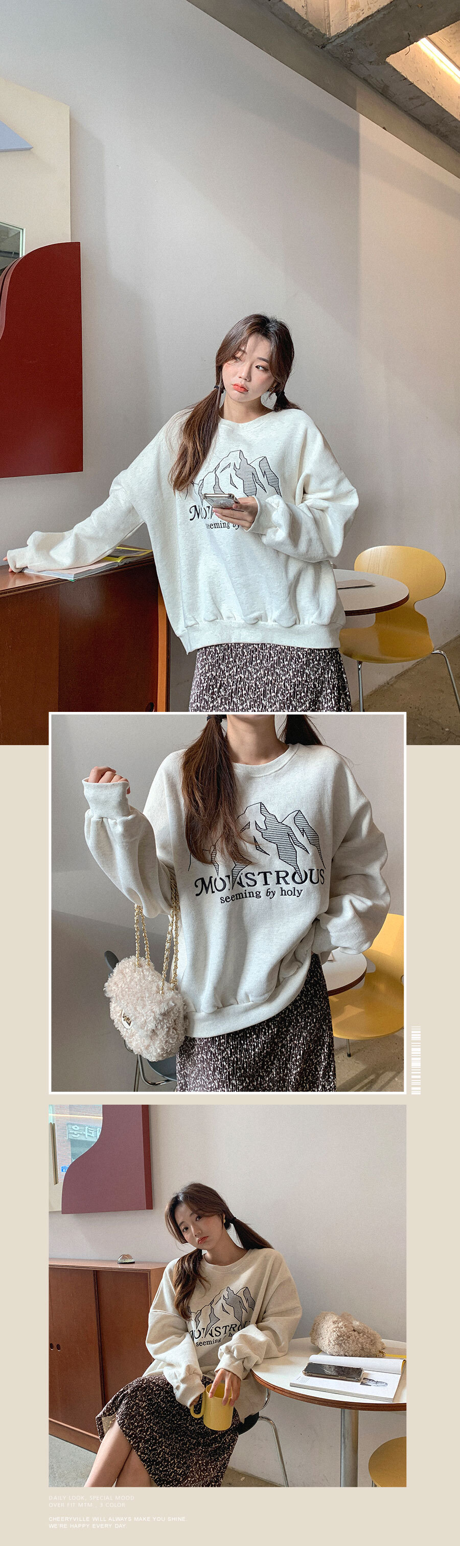 Oversized cute embroidery over fit Sweatshirt