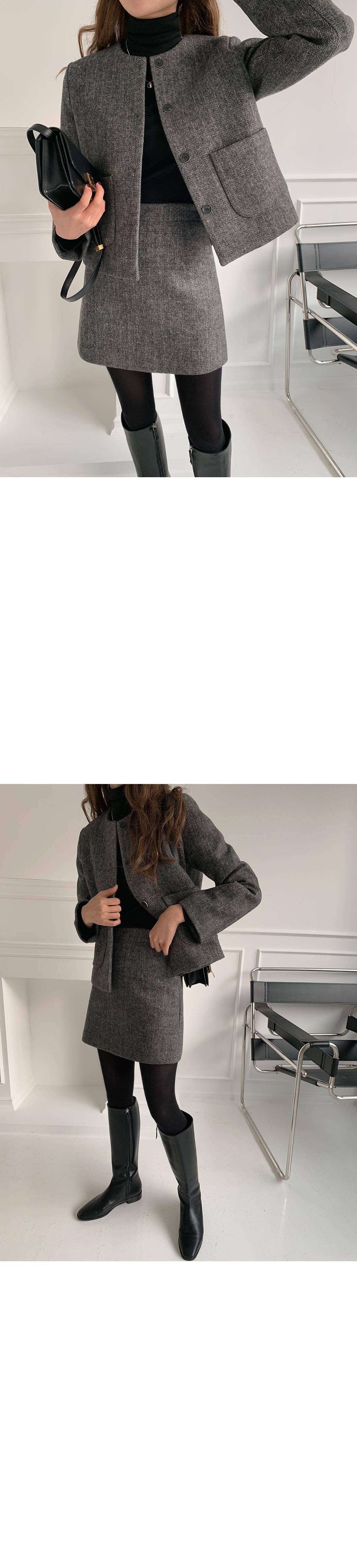 Herringbone no-collar wool jacket